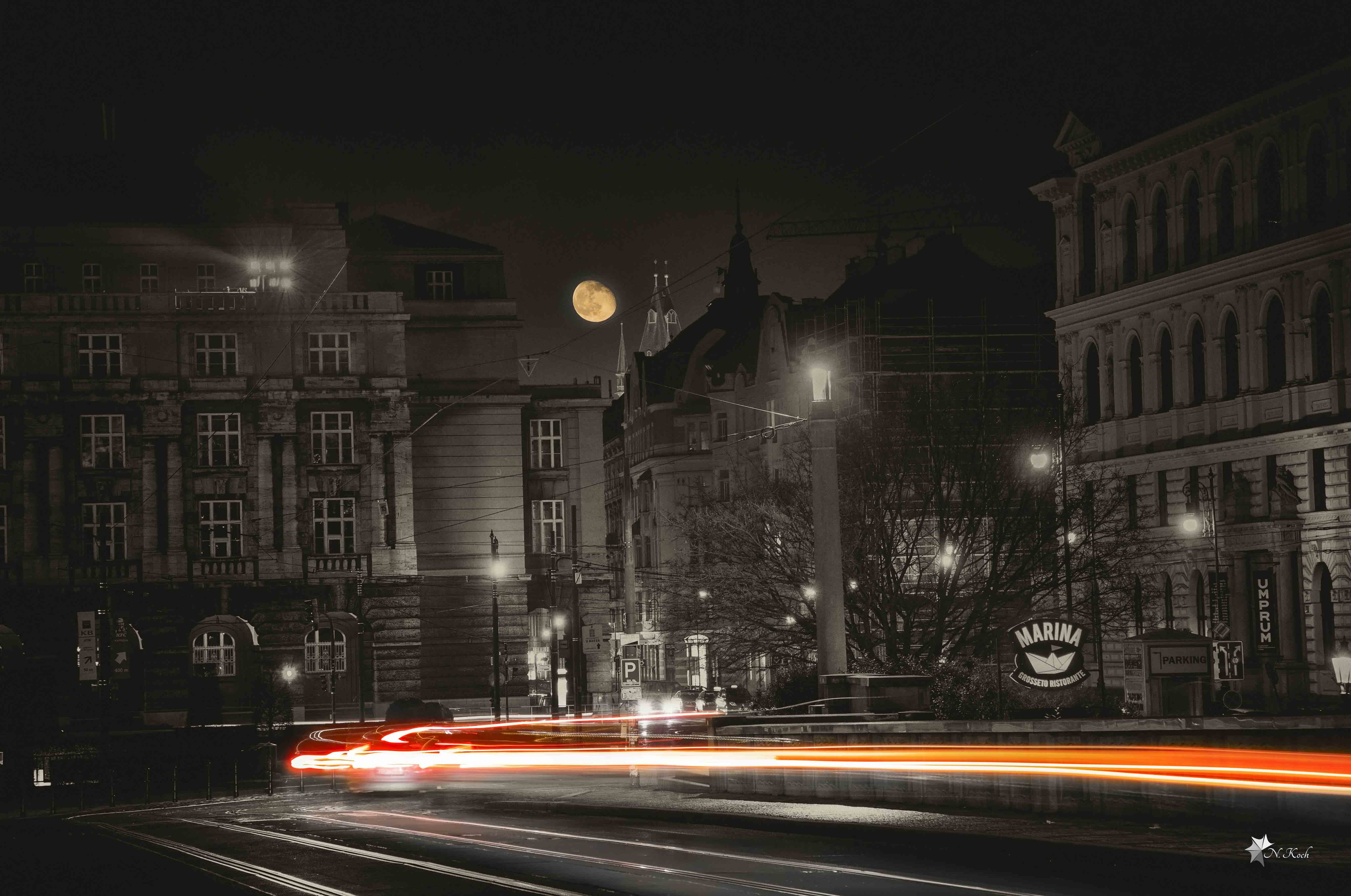 2016, Prague | Moon at night in the city of Prague